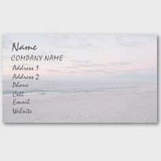 'BEACH AT DAWN' BUSINESS CARD, by The Flying Pig Gallery on Zazzle (lizadeyphoto) - This 'Beach at Dawn' Business Card is perfect for many types of businesses. Can also be adapted to use as a personal profile card. Text may be customized according to your needs.
