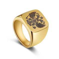 Fascia lucido uomo Biker anello un Anello Con Sigillo stemma del Russo uomini anelli in acciaio inox di marca
