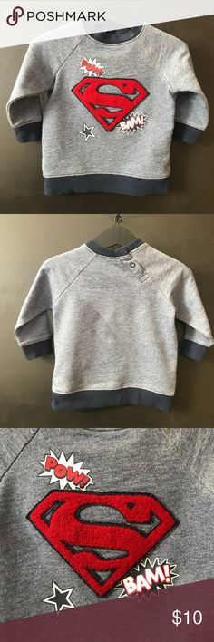 9/12M Boys H&M superman graphic sweatshirt *Gently used, great condition *Clean, stain free  *Smoke and pet free *No holds/trades H&M Shirts & Tops Tees - Long Sleeve
