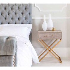 Fabric Covered Studded Bedside