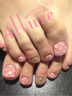 Pretty pedicure: pastel pink, light brown and white leopard design. Again, make all of the toenails the SAME COLOR/DESIGN. I think it looks silly having 1 toenail be a different color...