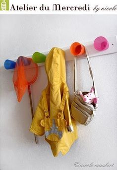 cup coat rack-this is actually a neat idea for winter time to put their gloves in. Would be cute for a mud room or something.