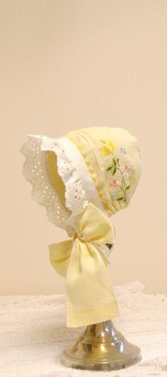 Yellow Embroidered Baby bonnet -- Easter bonnet. vintage bonnet. Newborn photo prop. antique bonnet. baby girl shower gift. cotton baby hat