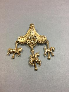 Vintage Gold Carousel Brooch with Two Horse Charms and One