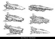 Spaceship Sketches Page Alex Villarreal Spaceship Art, Spaceship Design, Concept Ships, Concept Art, Cyberpunk, Ship Sketch, Space Fighter, Sci Fi Spaceships, Sci Fi Ships