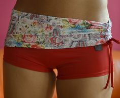 Shorts in roses and red for Bikram yoga by Siluetmode on Etsy, $48.00