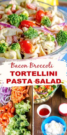 This Tortellini Pasta Salad is bursting with fresh vegetables coated in a creamy pasta sauce and loaded with pieces of crisp bacon and fresh broccoli! Creamy Pasta Salads, Pasta Salad With Tortellini, Pasta Meals, Pasta Salad Recipes, Bean Salads, Cheese Bombs, Instant Pot Pasta Recipe, Cold Pasta, Summer Side Dishes