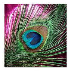 Magenta Foil Peacock Shower Curtain.  For Renee