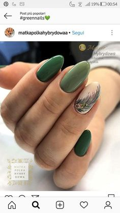 Fantastic Green Nail Art Designs Ideas – Designer nails can really make you look fashionable and chic. Nail art is one way to make your nails look really good and it lets you experiment with … Green Nail Art, Green Nails, Pretty Nail Designs, Gel Nail Designs, Stylish Nails, Trendy Nails, Love Nails, My Nails, Feather Nails