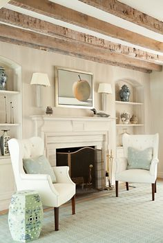 beams + wingbacks + whitewashed woods