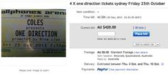 This eBay listing for One Direction tickets expires on Sept. 25, 2013. It's currently up to $420.00 as of Friday. But the description is what you really need to see.