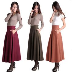 7 Colors Plus Size  2013 Autumn And Winter Women Fashion A-line Wool  Bust Long Maxi Muslim Islam Skirt High Quality For Sale