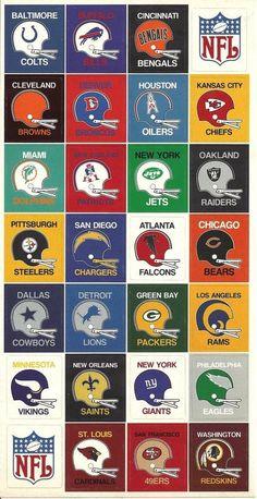 NFL football helmets from the 70's. #NFL #Football #Vintage