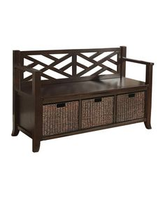 Look what I found on #zulily! Espresso Adrien Basket Storage Bench #zulilyfinds