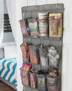Storage can be hard to come by in a college dorm room.  Try this super simple space-saver to keep your things organized and out of the way.