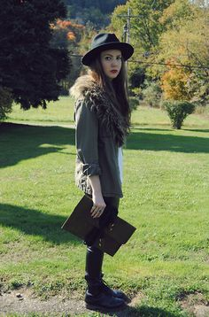 Gypsy Warrior Hat, Forever 21 Faux Fur Collar, Blank Nyc Jacket, Oasap Clutch, Goodnight Macaroon Leather Pants, Dr. Martens Boots