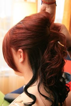 My wedding hair black low lights and red top