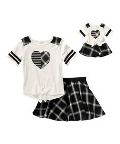 Love this Black & White Plaid Skirt Set & Doll Outfit - Kids on #zulily…