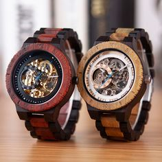 Stop Everyone In Their Tracks With These Refined Wooden Watches. Men Automatic Mechanical Wristwatch In Gift Wood Box. Trendy Watches, Cheap Watches, Watches For Men, Casual Watches, Groomsmen Watches, How To Waterproof Wood, Wooden Man, Watch Gift Box, Watch Engraving