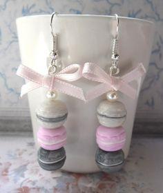Boucles d'oreille trio de macarons argenté et rose