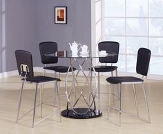 5 pc Deron collection chrome metal and round glass top counter height dining table set
