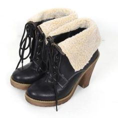 midnightCOCO  Fleece Trim Platform Ankle Boots