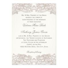 Victorian Floral Lace on White Design Wedding Personalized Invite