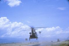 Chinook  with the load is carrying a 105 plus a basic load of ammo in the sling.  Courtesy of TG.  #VietnamWarMemories