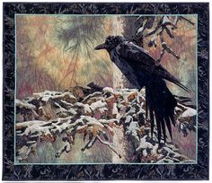 "This.Is.Stunning!! ""WAITING OUT WINTER"" - A raven huddles against the cold - Quilt by Karin Franzen (2006)"