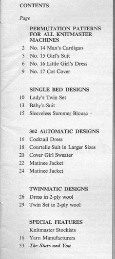 Modern Knitting July 1967 - Contents