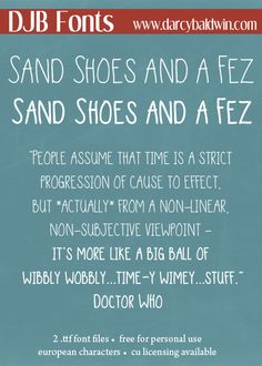 DJB Sand Shoes and a Fez - an homage to Doctor Who and all Whovians everywhere, and it's a great font for so much more!!