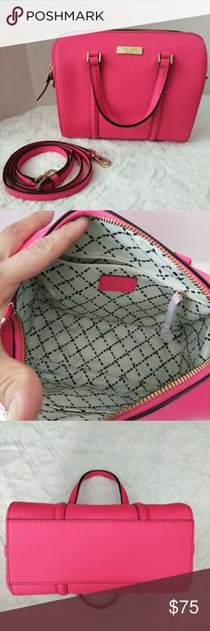 """Kate spade bag This pink bag can be use three ways, shoulder, crossbody or hand held. Strap is removable. Good condition. 9"""" wide, 6 1/2"""" tall, 4 1/2 depth. kate spade Bags Crossbody Bags"""