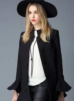 Cotton & Cotton Blend Black Red Long Long Sleeve Stand Collar Coats & Jackets