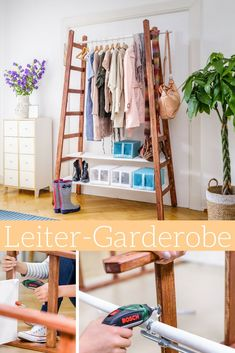 Upcycling: ladder wardrobe With this ladder wardrobe you are not only trendy, but also have your favorite pieces always at hand! The post Upcycling: ladder wardrobe appeared first on Garden ideas - Upcycled Home Decor Appartment Decor, Creative Furniture, Creative Home, Upcycled Furniture, Diy Home Decor, Home Diy, Upcycled Home Decor, Upcycled Furniture Diy, Home Decor