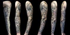 Greek God full sleeve tattoo for men by Steve Toth Professional Tattoo, Sleeve Tattoos, Tattoos For Guys, Tattoo Artists, Greek, God, Tattoo Sleeves, Dios, Tattoos For Men