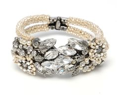 Miriam Haskell Jewelry | Miriam Haskell Hinged Bangle Pearl Silver Bracelet M03121-B01 at LoveMySwag.com