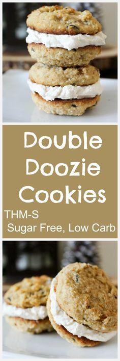 Double doozie cookies (thm-s, sugar free, low carb) keto Sugar Free Desserts, Sugar Free Recipes, Dessert Recipes, Dessert Ideas, Snack Recipes, Low Carb Sweets, Low Carb Desserts, Healthy Desserts, Healthy Lunches