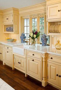 Beautiful Yellow Kitchen Cabinets