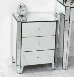 Venetian Art Deco Mirrored Glass 3 Drawer Bedside - Bedroom Lamp Furniture VEN10 £169