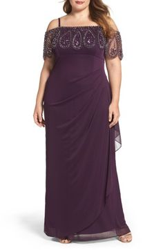 Free shipping and returns on Xscape Beaded Cold Shoulder Gown (Plus Size) at Nordstrom.com. Beaded and bejeweled, a sheer, scalloped panel wraps the shoulder-baring neckline and arms with glamorous shine on this elegant Empire-waist gown. Side pleats and back ruching beautifully shape and drape the long, column silhouette.