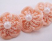 10 Crochet Flower Rosettes Applique in Ivory - Pearl Center - For Headband Applique Embelishment Sew-On Scrapbooking Jewelry Making Costume. $4.50, via Etsy.