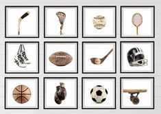 Title: Set of 9 Vintage Sports PHOTO Prints on White Background ready to go in your frame. (Please note frames are not included) This listing is for Nine prints on Kodak endura lustre paper. (NOT CANVAS) Perfect for boys room, nursery or man cave. 1. Vintage Single Baseball on White Background 2.