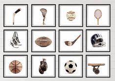 Set of Four Square Vintage Sports Photo Prints on White Background Man Cave Diy, Man Cave Home Bar, Palm Springs, Four Square, Vintage Sports Decor, Vintage Football, Home Designer, Vintage Skateboards, Sports Wall