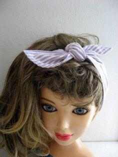 Bandana Hairband, Rockabilly 50s Bandana, Bandana Headband, Knotted Bandana, BOHO Hairband, Women n Teens, Fabric Headband, Lavender by CrochetnMoreByAlida on Etsy