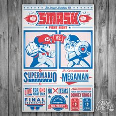 A Super Smash Bros t-shirt featuring Mario and Mega Man. Get your souvenir tee for the greatest Smash showdown of our generation! Mega Man, Mario Bros., Fight Night, The Donkey, Canvas Prints, Art Prints, Super Smash Bros, Cool T Shirts, Nerdy