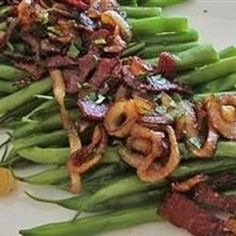 """Green Beans with Smokey Bacon Vinaigrette 