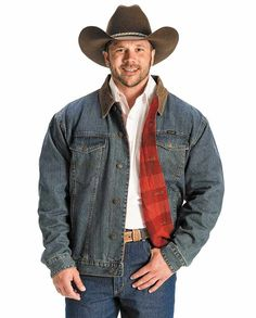 """Wrangler Rustic Blanket-Lined Men's Jean Jacket  