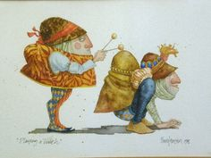 Playing a Hunch (watercolor) - earlier version, less elaborate clothing (1982)