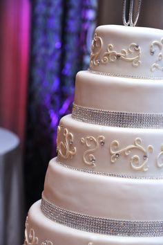 rhinestone accents on a custom wedding cake (at the Fort Worth Club)