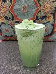 Icy cold absolutely scrumptious Matcha Green Tea Frappe made with Ceremonial Matcha from www.Thinkmatcha.com